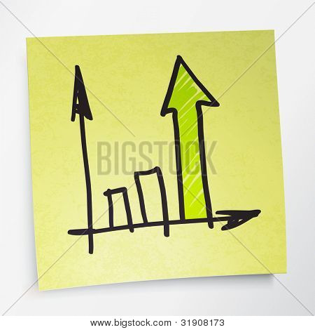 Successful business graph on yellow sticky paper, rasterized version.