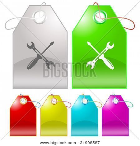 Screwdriver and spanner. Raster tags. Vector version is in my portfolio.