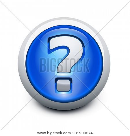 Glassy button with Question mark