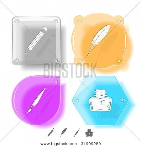 Education icon set. Brush, inkstand, feather, pencil. Glass buttons. Vector illustration. Eps10.