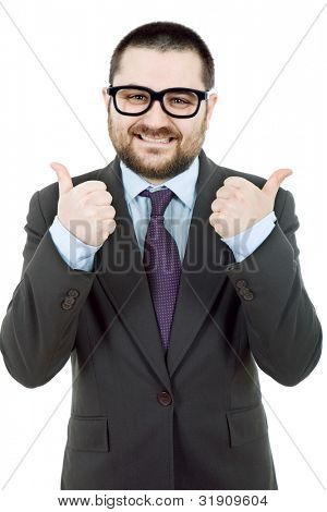 young silly business man going thumbs up