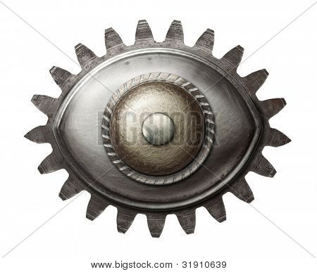 Designed metal eye. Isolated on white.