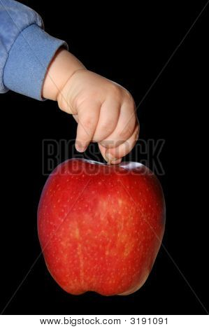 Hand Of Child Holding A Big Red Apple
