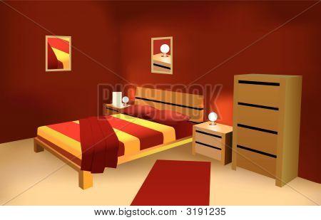 Dormitorio moderno rojo Vector