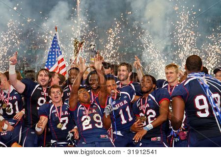 VIENNA, AUSTRIA - JULY 16 Team USA celebrates the victory at the Football World Championship on July 16, 2011 in Vienna, Austria. USA wins 50:7 against Canada and wins the tournament.