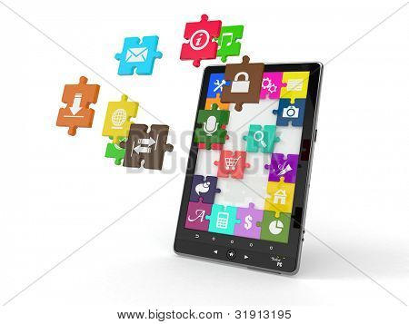 Tablet pc software. Screen from puzzle with icons. 3d