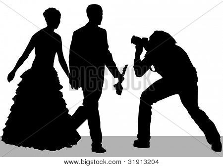 drawing of photographers at a wedding