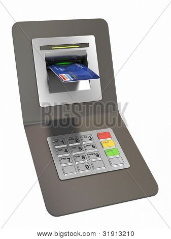 Money withdrawal. ATM and credit or debit card. 3d