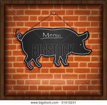 raster blackboard pig menu card brick wall background