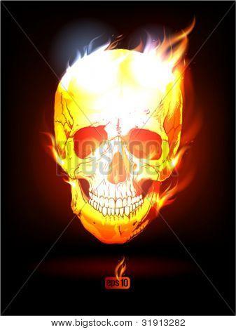 Fiery Human Skull poster. Eps10 Vector.