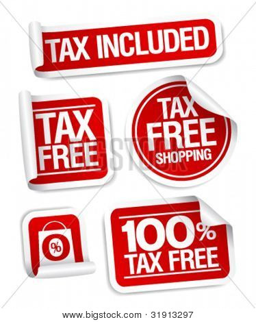 Tax free shopping stickers set.