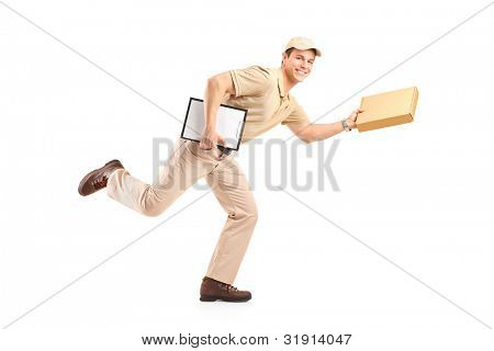 Delivery boy in a rush delivering a package isolated against white background