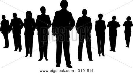 Business People With Leader Silhouette