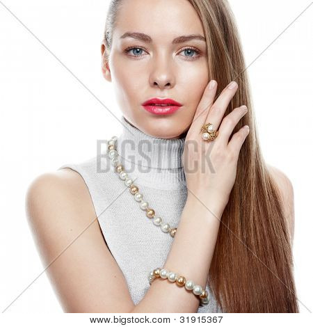 Beautiful woman with peral jewellery