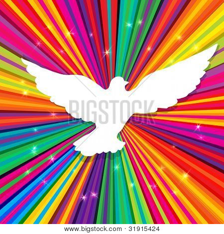 Dove silhouette on psychedelic colored abstract background, rasterized version.