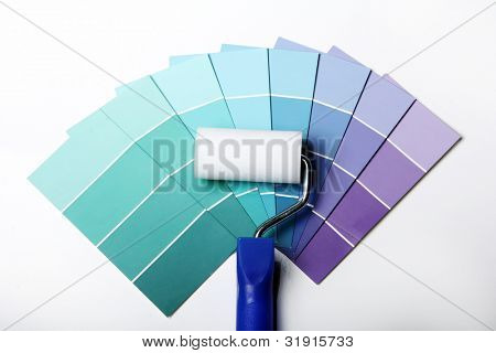 Close up of pantone color palette and roller