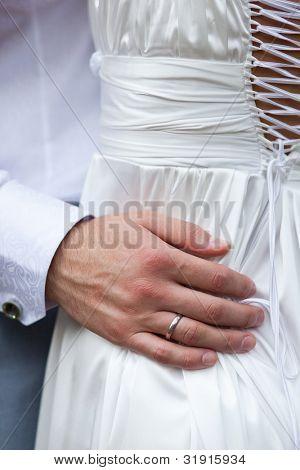 closeup shot of gorgeous wedding dress from behind