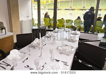 GDANSK, POLAND - FEBRUARY 4: VIP box with luxury table of PGE Arena stadium. The stadium was built specifically for the Euro 2012 Championship. February 4, 2012 in Gdansk, Poland.