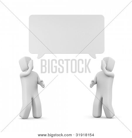 3d people and speech cloud. Image contain clipping path