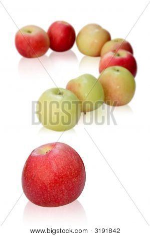 Manzanas como una pregunta de la marca de interrogatorio