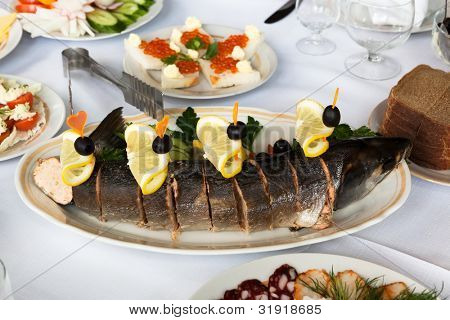 tasty fish on a beautiful holiday table