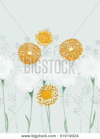 Illustration of abstract flowers, dandelions and herbs