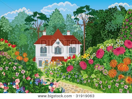 The house surrounded by lush blossoming garden. All objects are grouped.