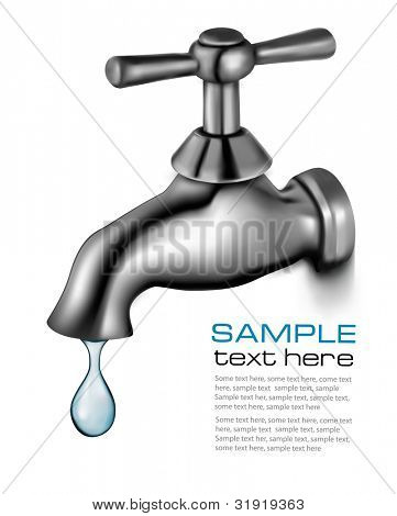 Water tap with drop. Vector illustration.