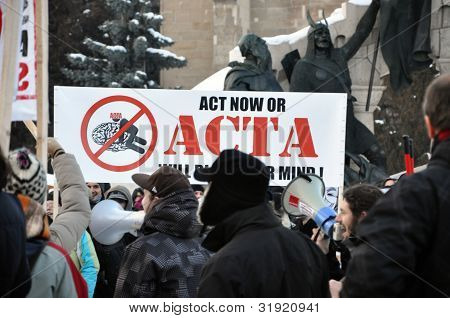Street protest against ACTA treaty