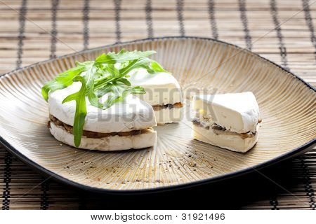 cheese brie filled with roasted mushrooms