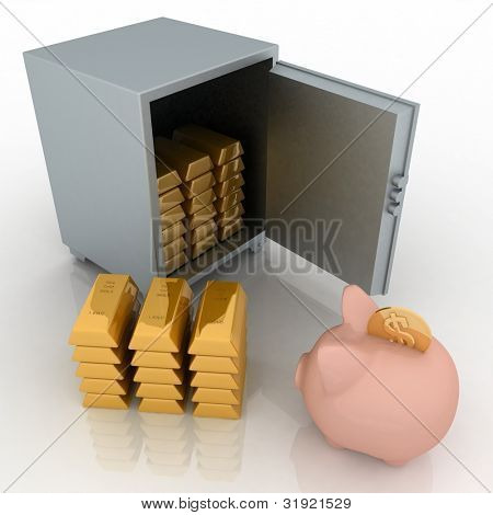 bullions and piggy bank in a security safe. 3d rendered illustration isolated on white background.