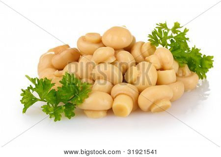 Marinated mushroom isolated on white