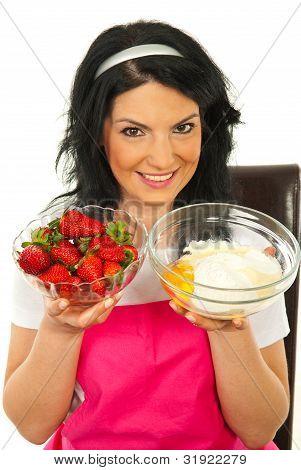 Woman Prepare Cake With Strawberry