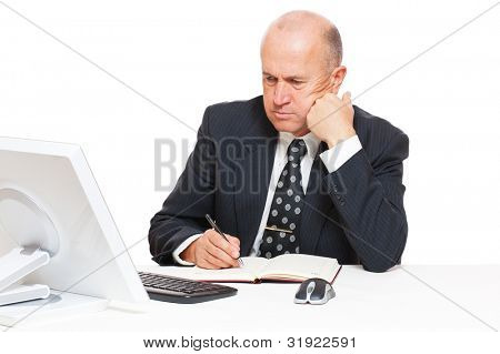 studio picture of pensive businessman with computer. isolated n white