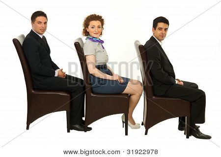 Waiting Business People On Chairs