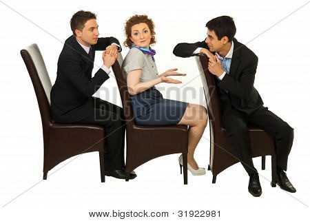 Confused Woman Between Men Discussion