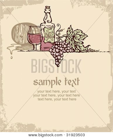 card design with vintage wine and place for text. still life