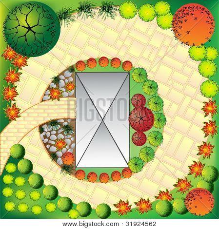 Plan des Gartens mit Pflanzen-Symbole