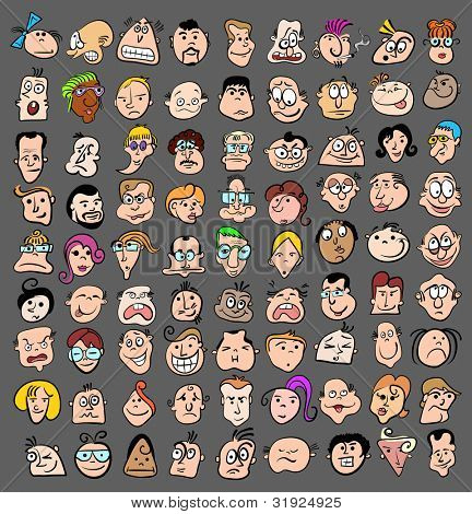 People face expression doodle cartoon icons, happy characters vector art