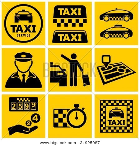 Vector black taxi service icons set.