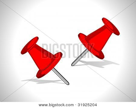 Vector illustration of banner with two pins in red color isolated on grey. can be use as label, tag, icon and button.