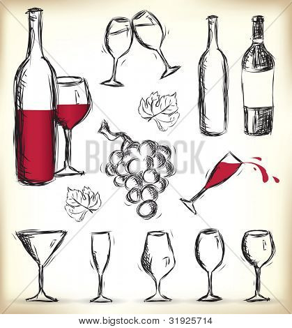 Collection of hand-drawn glasses, bottles of wine and grapes - JPG version of a vector illustration from my portfolio