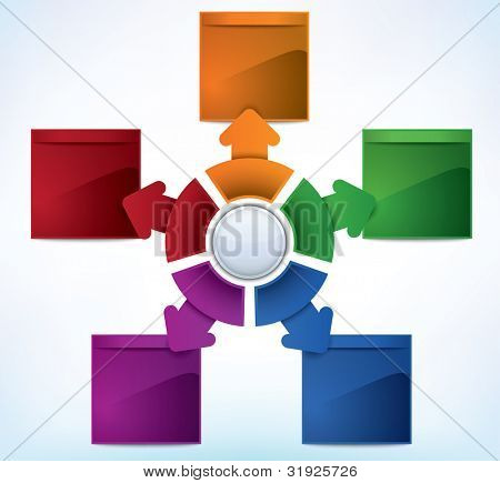 Business Presentation Diagram with five different colored fields for text and statistics - JPG version of a vector illustration from my portfolio