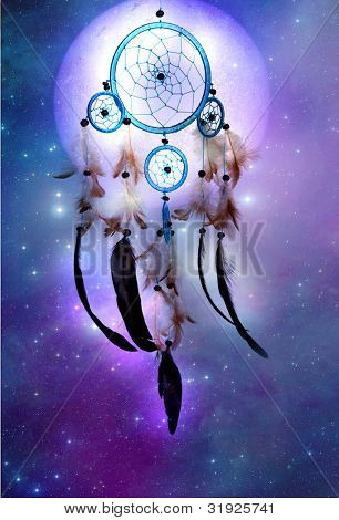 a magic dreamcatcher over cosmic background with stars and a planet