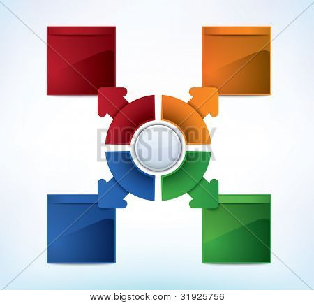 Business Presentation Diagram with four different colored fields for text and statistics - JPG version of a vector illustration from my portfolio