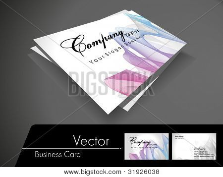 Professional business card set, template or visiting card. Artistic, abstract corporate look with colorful waves on white background, EPS 10 Vector illustration.