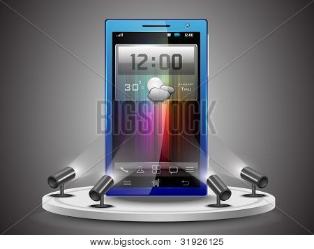 Shining Smartphone  on stand banner presentation  or template design, editable Vector Illustration in  EPS 10.