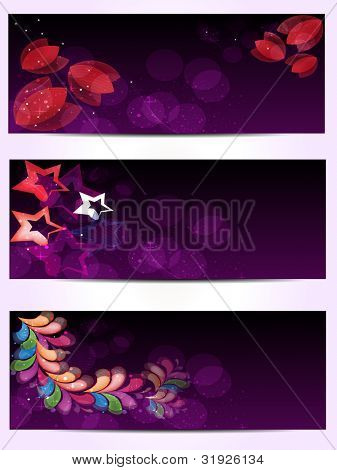 Set of headers or website banner with abstract floral design work on purple clor background. EPS 10.