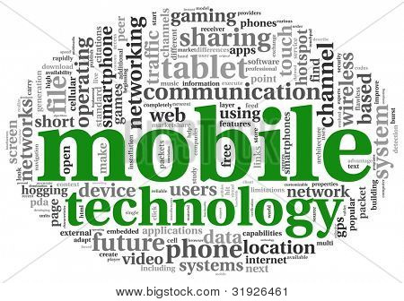 Mobile technology concept in word tag cloud on white