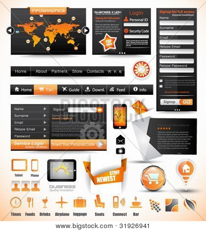 Premium templates and Web stuff master collection: graphs, histograms, arrows, chart, infographics, icons and a lot of related design elements.